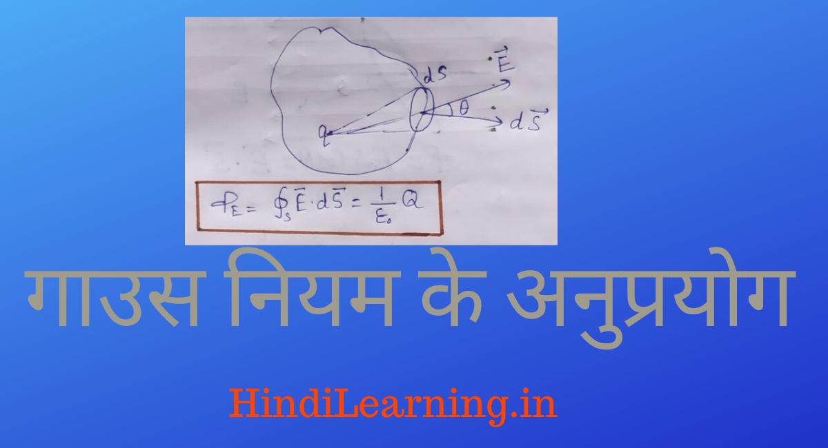 गाउस नियम के अनुप्रयोग - Gauss Niyam Ke Anuprayog in Hindi