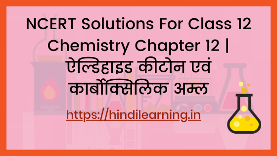 NCERT Solutions For Class 12 Chemistry Chapter 12 | ऐल्डिहाइड, कीटोन एवं कार्बोक्सिलिक अम्ल