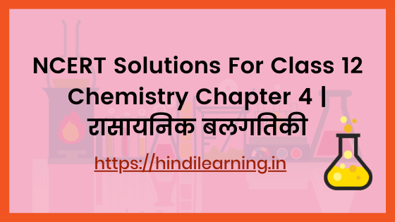 NCERT Solutions For Class 12 Chemistry Chapter 4 | रासायनिक बलगतिकी
