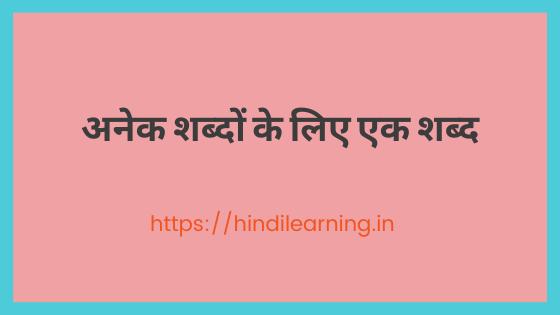 अनेक शब्दों के लिए एक शब्द | One Word Substitution in Hindi