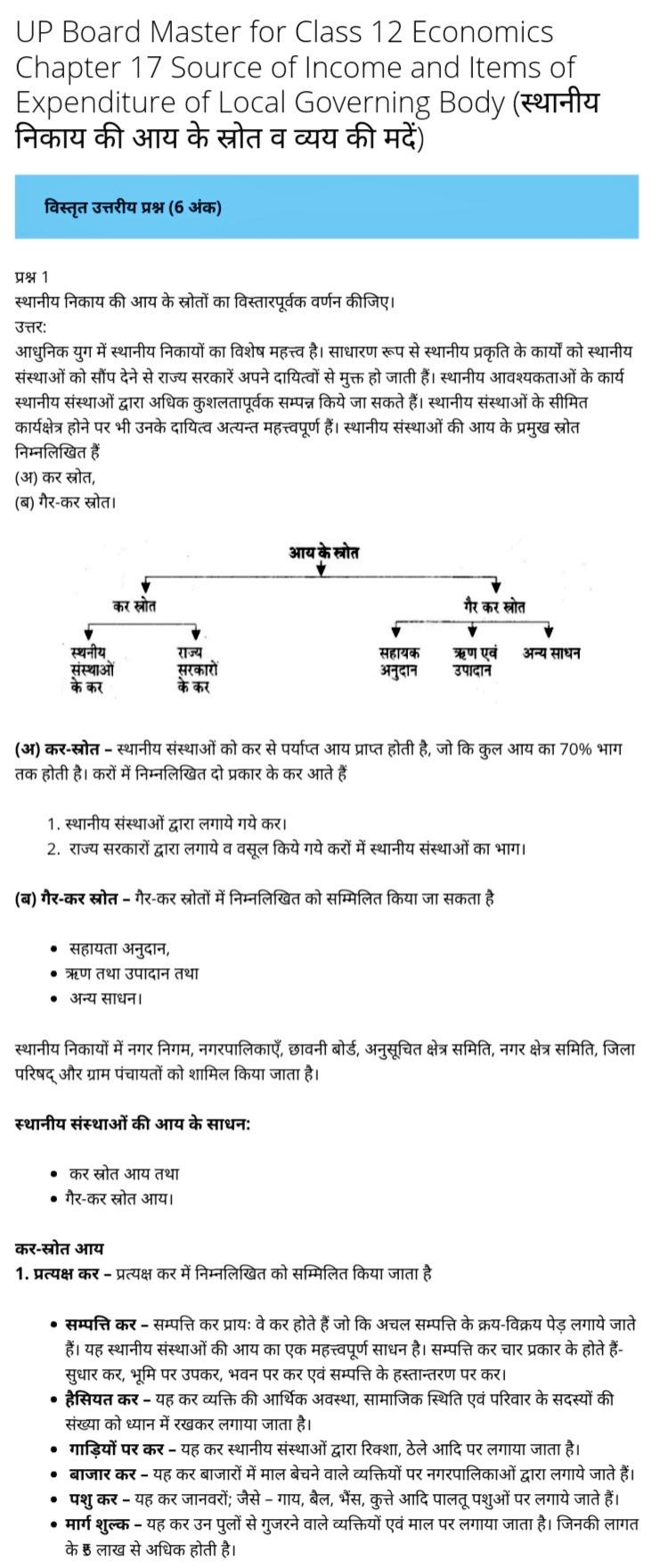 UP Board Solutions for Class 12 Economics Chapter 17 Source of Income and Items of Expenditure of Local Governing Body (स्थानीय निकाय की आय के स्रोत व व्यय की मदें)
