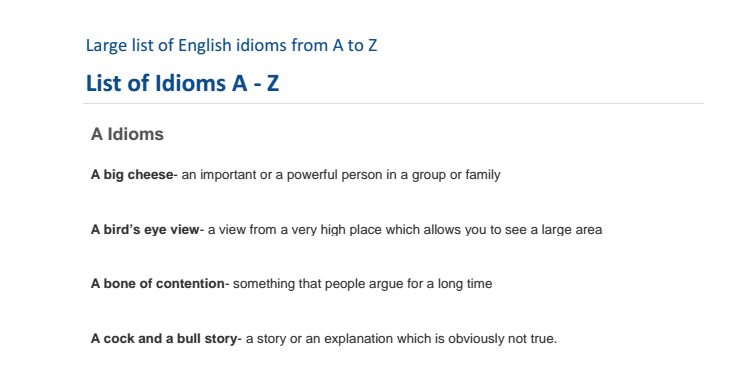 [Download] Large list of English idioms PDF from A to Z